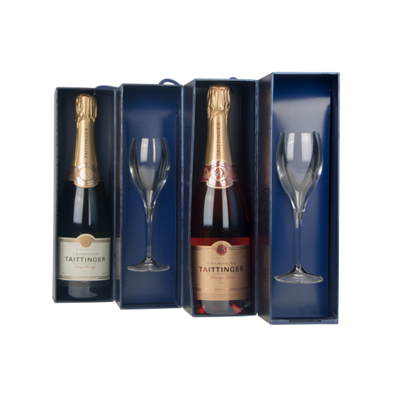 Taittinger champagne Coffret Quatuor 2 flûtes + 1 Blanc Prestige + 1 Rosé Prestige