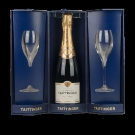 Taittinger champagne Coffret triangle 2 flûtes + 1 bouteille Blanc  prestige