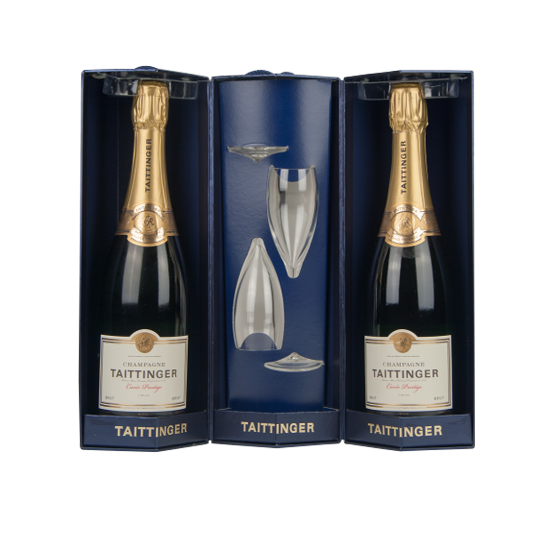 Taittinger champagne Coffret triangle 2 flûtes + 2 bouteilles brut prestige