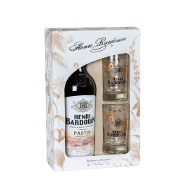 """Coffret Pastis Henri Bardouin """"1 bouteille de 70cl + 2 verres"""""""