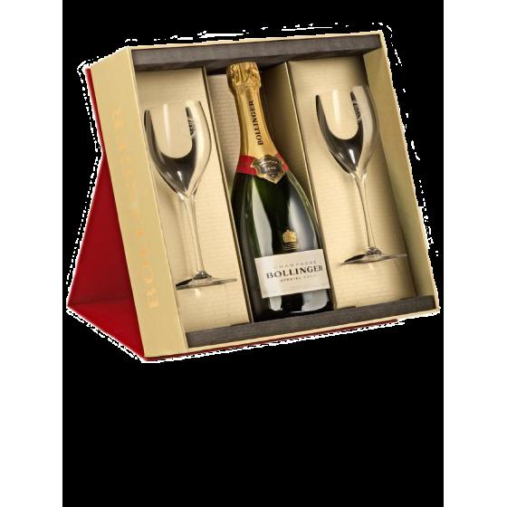 """Coffret Champagne Bollinger Bouteille """"Spécial Cuvée"""" + 2 verres"""